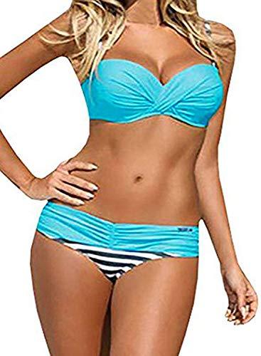 Actloe Women Color Block Bikini Swimsuit Two Pieces Striped Swimwear Push up Bathing Suit Blue - Underwire Elegant