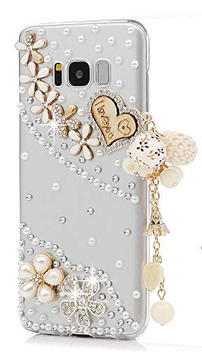 - STENES Galaxy Note 9 Case - Stylish - 100+ Bling Crystal - 3D Handmade Heart Pearl Pendant Flowers Floral Design Cover Case for Samsung Galaxy Note 9 / Galaxy SM-N960U / Galaxy SM-N960F - Gold