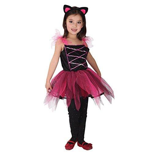 Spooktacular Girls' Lovely Cat Dress-Up Costume Set with Tail, L