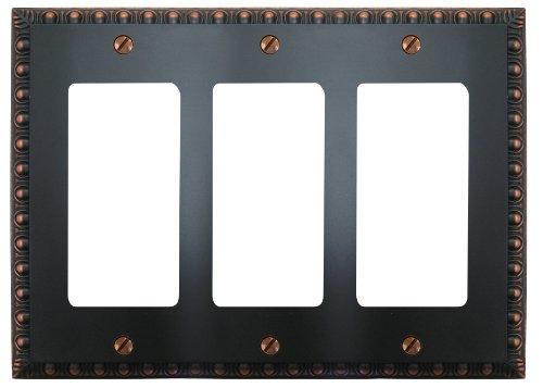 Dart Plate (Amertac 90RRRVB Egg & Dart Aged Bronze Cast Wall Plate, 3 Rocker)