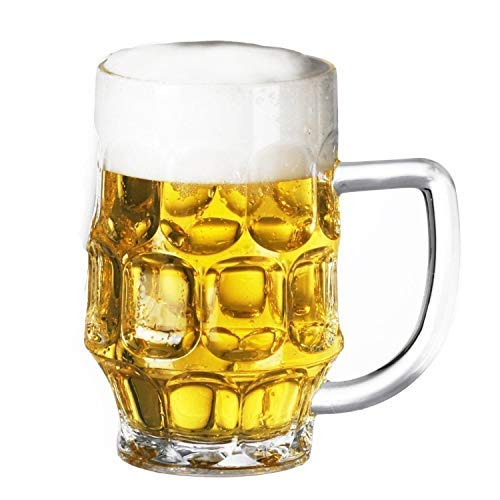 Plastic Beer Mugs, set of 4 Giant 26oz Great for Super Bowl, Daily Use, Weighs MERELY 5oz.-EASY to Hold & Handle, STRESSFREE On Your Arm & Fingers!! Dimple Stein & Rugged Acrylic, Shatter Proof (4) -