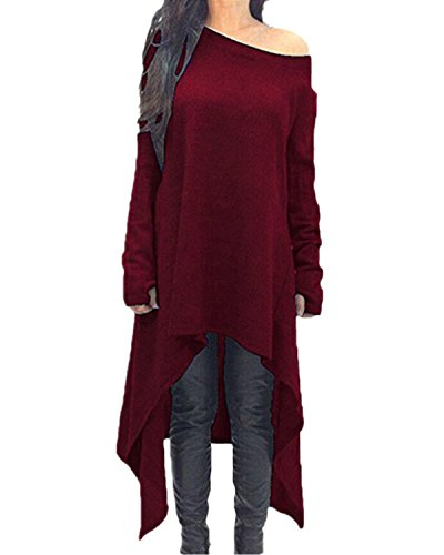 ZANZEA Women's Long Sleeve O-Neck Irregular Hem Jumper Pullover Loose Long Dress Wine Red XL