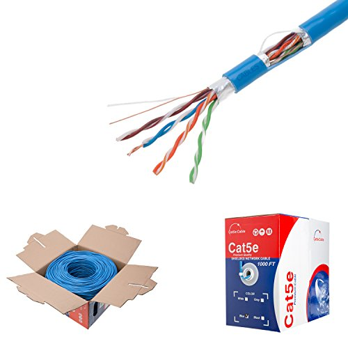 (1000ft Cat5e Blue Solid 24AWG Cable FTP Cat5 Bulk Network Wire (Shielded (FTP), Blue))