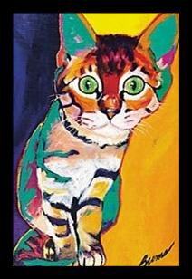 (FRAMED Tiger by Ron Burns 20x13.5 Art Print Poster Wall Decor Cat Cute Funny Animals)
