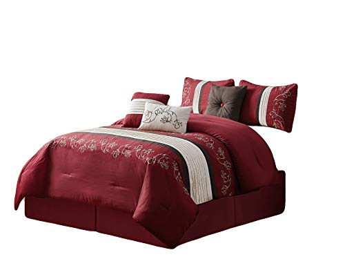 (HGS 7-Pc Sabri Floral Vine Scroll Embroidery Pleated Stripe Comforter Set Burgundy Red Ivory Brown Queen)