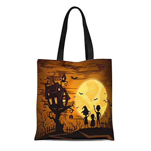 Semtomn Cotton Canvas Tote Bag Halloween Castle in Mystic Spooky Forest Pumpkin on Full Reusable Shoulder Grocery Shopping Bags Handbag Printed -