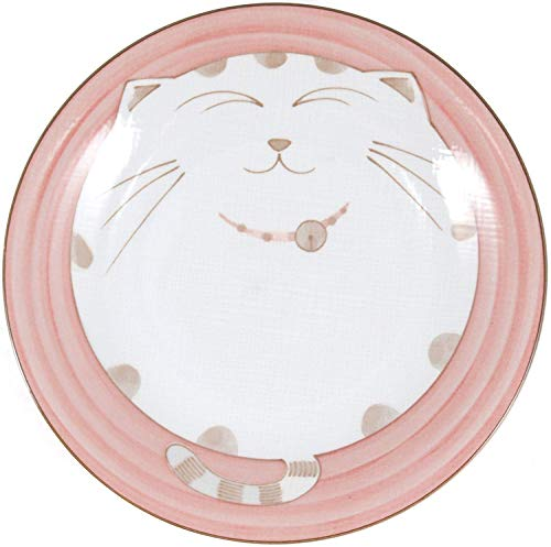 Smiling Cat Porcelain Plate, 7-3/4 Inch, Pink