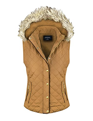 makeitmint Women's Quilted Padding Jacket Vest with Faux Fur Hood Medium (Down Vest Fur Hood)