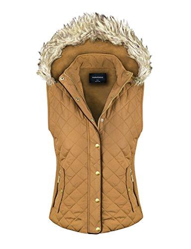 makeitmint Women's Quilted Padding Jacket Vest with Faux Fur Hood Medium (Down Vest Fur Hood)