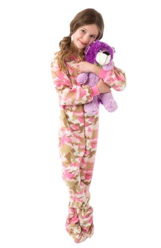Big Feet Pjs Big Girls Pink Camo Kids Footed Pajamas (M)