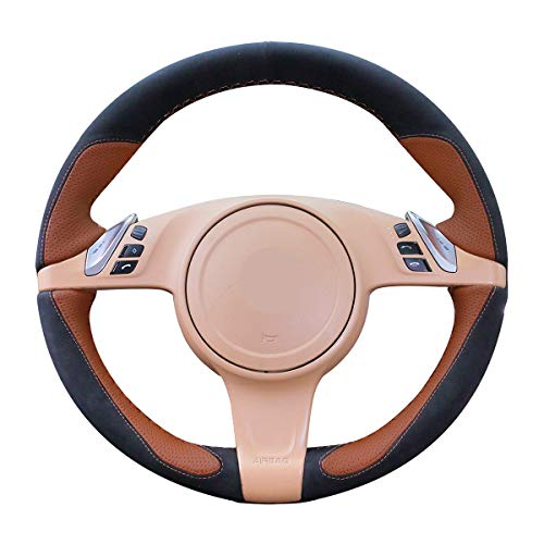 - Mewant Black Suede Brown Leather Auto Custom Steering Wheel Cover for Porsche Cayenne Panamera 2010 2011