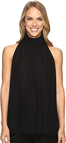 Vince Camuto Women's Sleeveless Shirred Neck Halter Blouse Rich Black Blouse