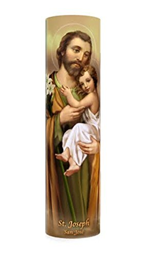 Saint Joseph, LED Flameless Devotion Prayer Candle, 6 Hour Timer, Religious Gift