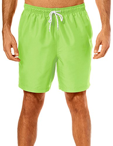 Boca Classics Mens Solid Drawstring Swim Trunks XX-Large Bright Lime Green ()