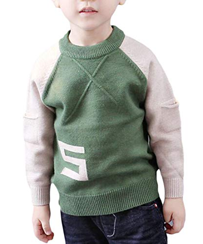Lutratocro Boy's Crewneck Knitted Fleece Raglan Sleeve Pattern Pullover Jumper Sweaters Green 8T
