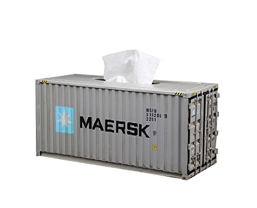 Decor Metal Container Shipping Tissue Box Cover (Large, Grey) by NARA Shop