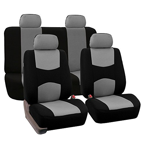 FH Group Universal Fit Full Set Flat Cloth Fabric Car Seat Cover, (Gray/Black) (FH-FB050114, Fit Most Car, Truck, Suv, or Van) (Chevy Car Seat Covers)