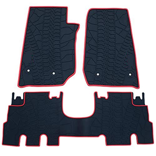 (biosp Fit Jeep Wrangler JK 2014-2017 4-door Runner All Weather Floor Mats Set Heavy Duty Rubber Carpet)