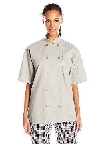 Uncommon Threads Unisex South Beach Chef Coat Short Sleeves, Stone, Large from Uncommon Threads