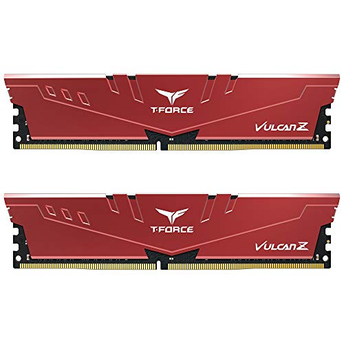 TEAMGROUP T-Force Vulcan Z DDR4 16GB Kit (2 x 8GB) 3000MHz (PC4 24000) CL16 Desktop Memory Module Ram - Red - TLZRD416G3000HC16CDC01