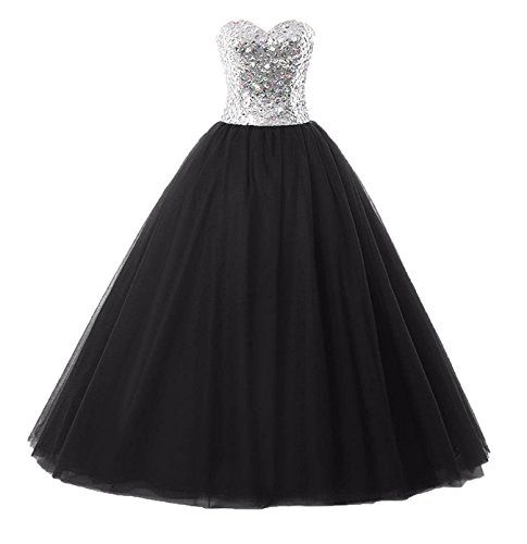 Women's Long Strapless Dresses Evening Black Ball Gown Sweetheart Tulle Yinyyinhs Formal dYSwg1qd