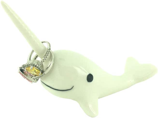 Adorable Ceramic Narwhal Ring Holder,Engagement Ring and Wedding Ring Display Holder Stand