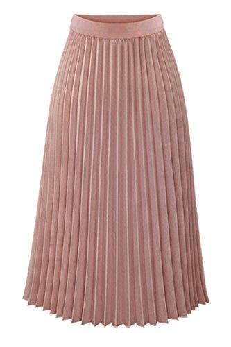 Les Plisse Facilite Taille Femmes Jupe Haute Ligne Zonsaoja Midi Vintage Une Rose SdqwC1q