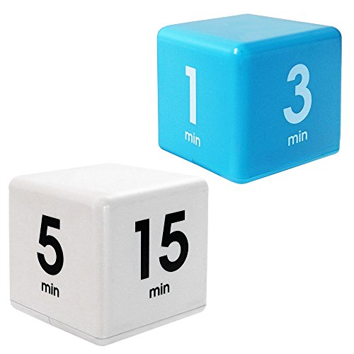 The Miracle TimeCube Kitchen Timer Combo, 2 Piece Set, 1,3,5 and 7 Minutes, 5,15,30 and 60 Minutes, Blue and White