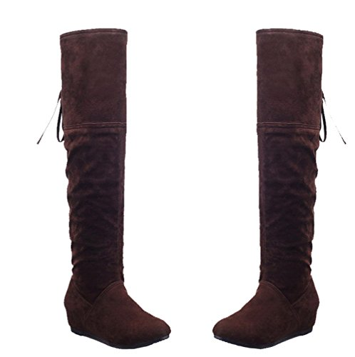 Pointed Boots Zipper Low Shoes Casual Heels Toe Women's Brown AgeeMi PU Closed v7fwdq7Xx