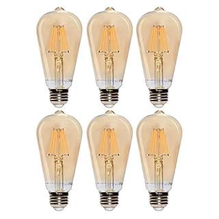 Simba Lighting LED Edison Vintage Filament ST21 (ST64) Light Bulbs (6 Pack) 6W Dimmable 60W Equivalent Amber Glass Decorative Antique Retro, Standard Medium E26 Base, Ultra Warm 2200K