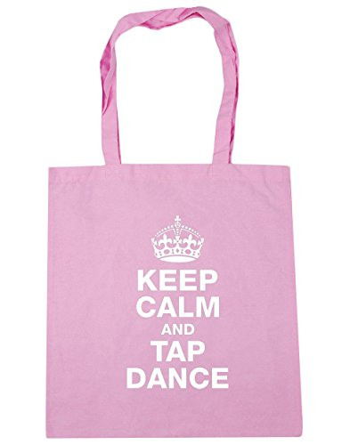 HippoWarehouse Keep calm and tap dance Tote Shopping Gym Beach Bag 42cm x38cm, 10 litres Classic Pink