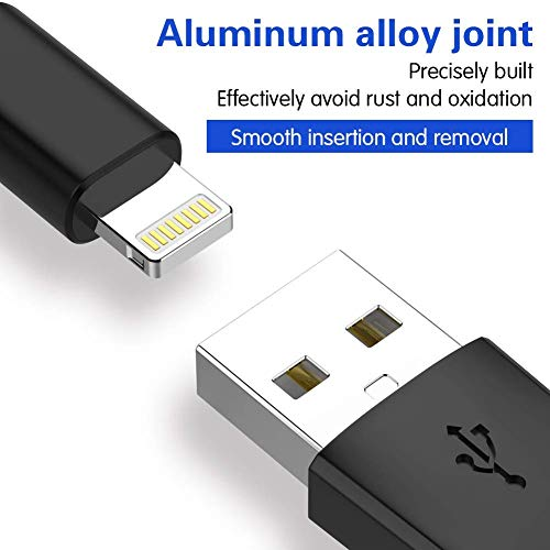 iPhone Charger AIOXQNL MFi Certified Lightning Cable 5 Pack?3/3/6/6/10FT? Compatible iPhone Xs/Max/XR/X/8/8Plus/7/7Plus/6S/6S Plus/SE/iPad/Nan More-Black
