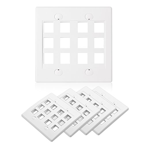 (Cable Matters (5-Pack) 12-Port Double Gang Wall Plate for Keystone Jack in White)