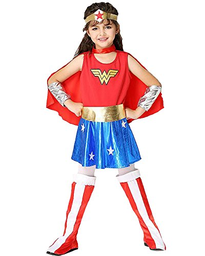 Aifang Halloween Girls Dawn of Justice Wonder Woman Costume Cosplay Make-up for Child Kids with Cape S (Wonder Woman Halloween Makeup)