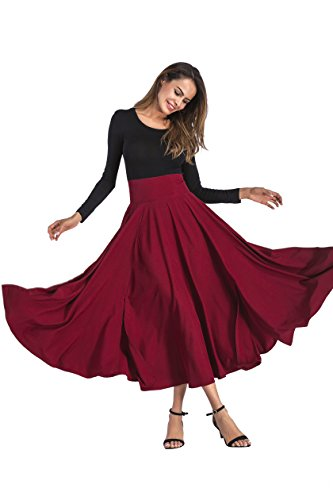 (CoutureBridal Women A-Line Front Slit Swing Ankle Length Maxi Skirt With Pockets Burgundy,Large)