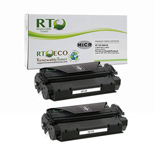 - Renewable Toner Compatible MICR Toner Cartridge High Yield Replacement for HP 13X Q2613X for use in HP LaserJet 1300 (Black, 2-Pack)