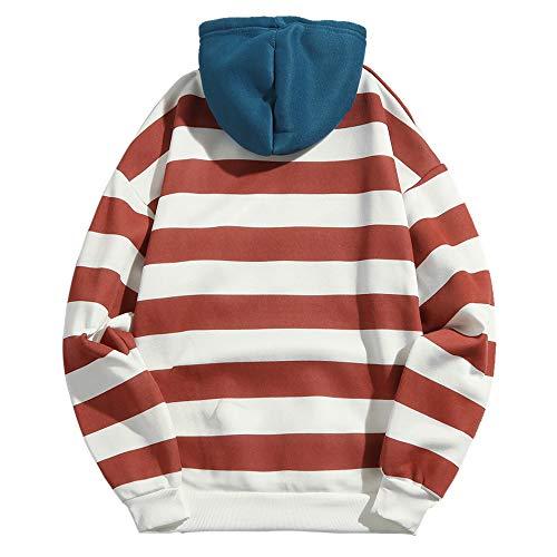 Sportivo Patchwork Lunga Zaful Ciliegia Streetwear Uomo Manica Rosso Abbigliamento A Felpa Hoodie Tops CwqO8XnZq