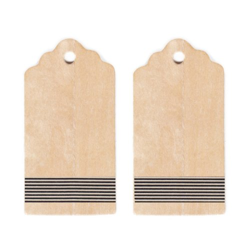 Dress My Cupcake Rustic Wooden Gift and Favors Tags DIY Kit, Vertical Black and White Stripes