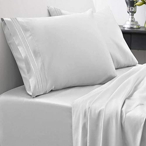1800 Thread Count Sheet Set – Soft Egyptian Quality Brushed Microfiber Hypoallergenic Sheets – Luxury Bedding Set with Flat Sheet, Fitted Sheet, 2 Pillow Cases, Full, Silver