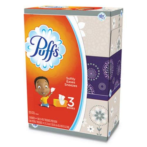 - Puffs 87615 White Facial Tissue, 2-Ply, 8.2 x 8.4, 180 Per Pack (Case of 8)