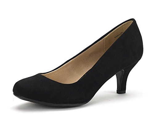 DREAM PAIRS LUVLY Women's Bridal Wedding Party Low Heel Pump Shoes Black Suede Size 8