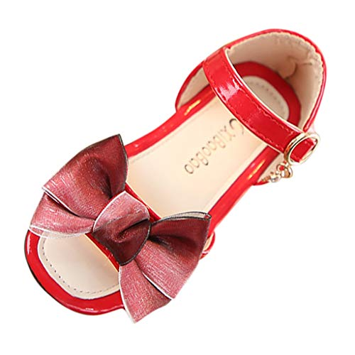 Tantisy Summer Sandals,Kids Children Sandals Fashion Big Bowknot Girls Flat Pricness Shoes Sandals Red