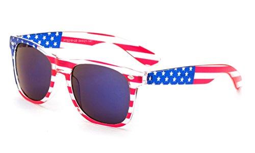 Newbee Fashion - 80's Blue Brothers Vintage Classic American Patriot Flag Mirror Sunglasses USA Reflective Lenses Translucent - Sale Wayfarer Bans Ray