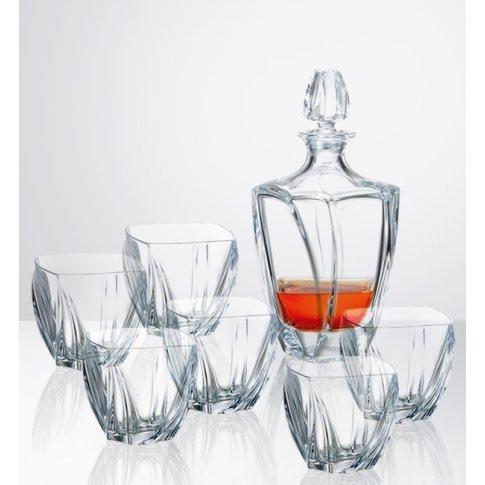 Bohemia Crystal Whiskey Set 700 ml Decanter Matching 6 x 300 ml Tumblers Neptune by Solavia