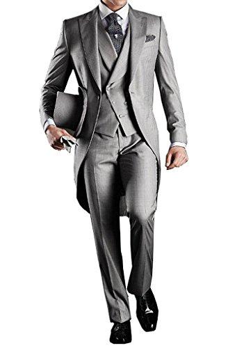 GEORGE Costume Homme Hommes Parti Costume 5 pièces veste +gilet + pantalon+ cravate+ carré de poche 005