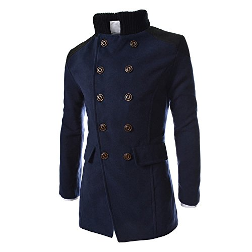 Toimothcn Men Double Breasted Pea Coat Formal Business Blazer Suit Long Jacket Outwear Lapel(Navy,M)