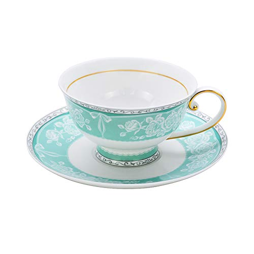 ACOOME Tea or Coffee Cup-Premium Quality Bone China 6.8oz Hand-made Flower Green Style Tea Cup with Matching Saucer ()