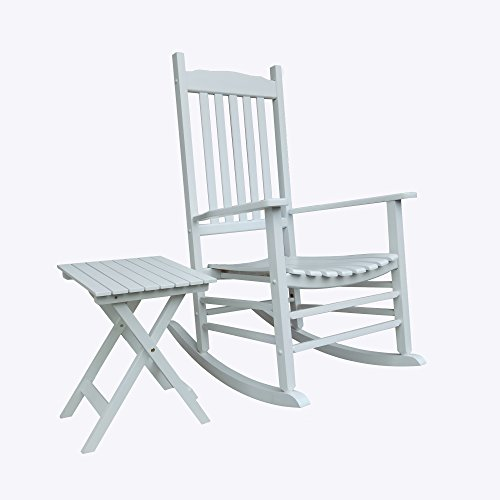 Rocking Rocker - S001WT White Porch Rocker With Side Table - Set of 2 pcs Good Price!!!