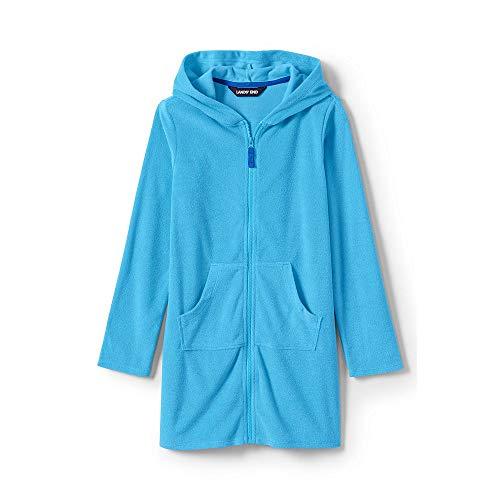 Lands' End Girls Kangaroo Pocket Swim Cover-Up, L, Light Blue Aqua ()