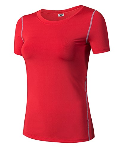 Camiseta de Manga Corta Deportiva Camiseta de Compresión para Mujer Rojo